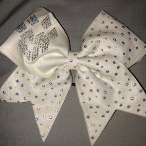 White cheer Athletics Panthers competition bow